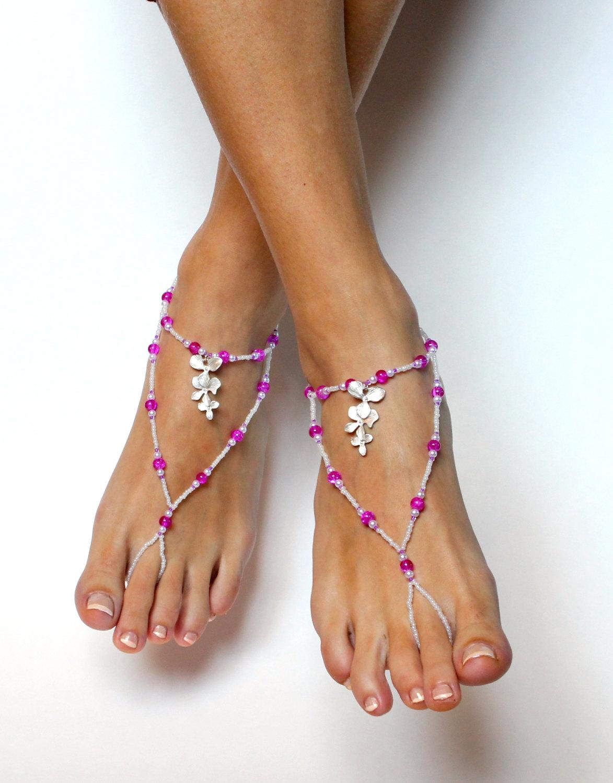 133f70cf11dbb Magenta Orchid Barefoot Sandals Hot Pink Sandals Bridesmaids Gift ...