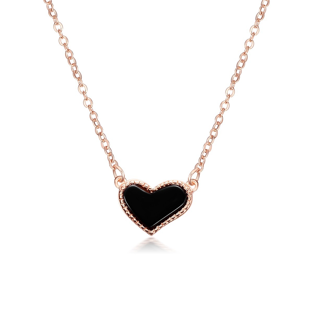 Sterling Silver Rose Gold Plated Diamante Black Agate Heart Love