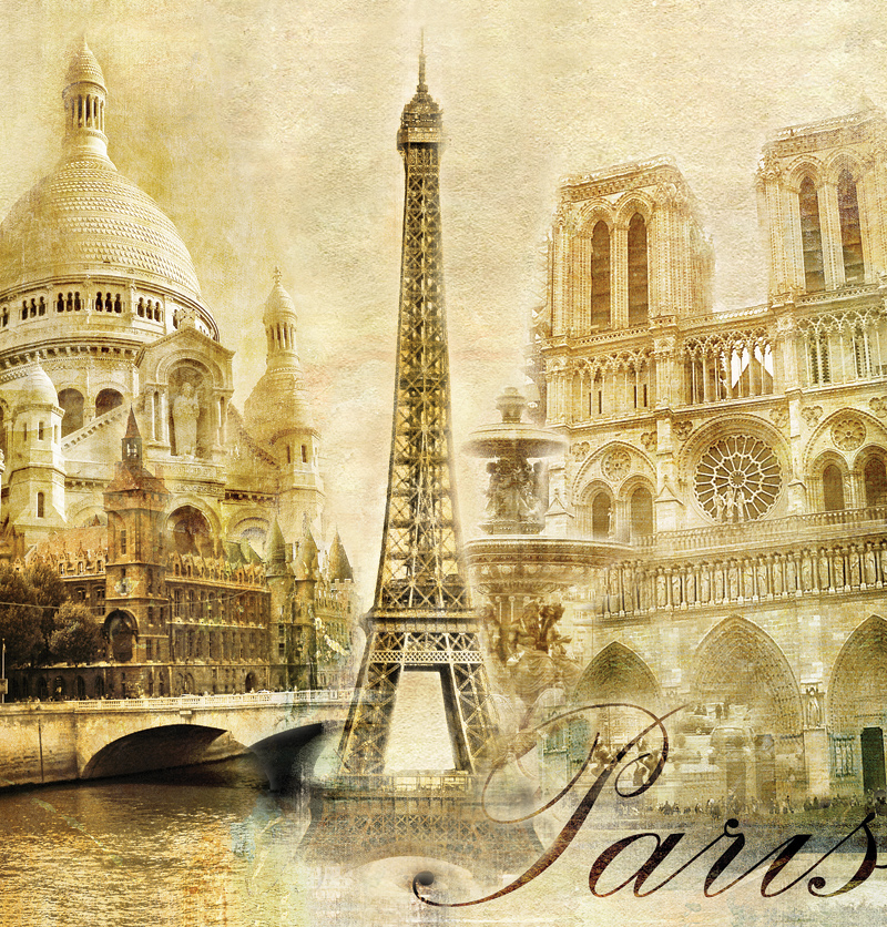 Sticker Mural Paris Vintage Classic Gold Autumn Wallpaper