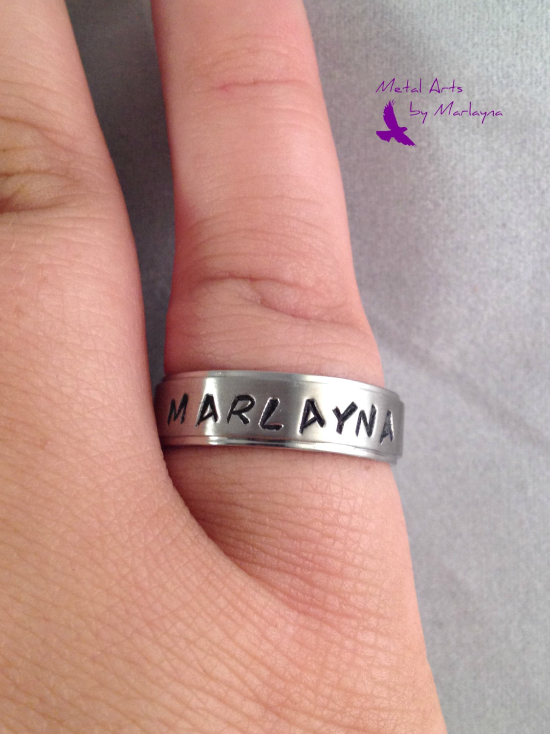 SALE Hand Stamped Personalized NAME Ring, Stainless Steel Ring ...