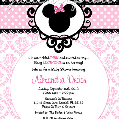 Minnie Mouse Pink Black Damask Baby Shower Birthday Invitation