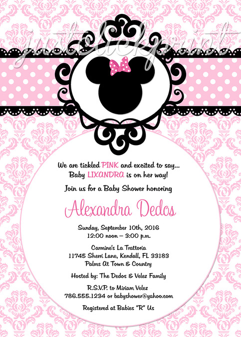 Minnie Mouse Pink Black Damask Baby Shower Birthday