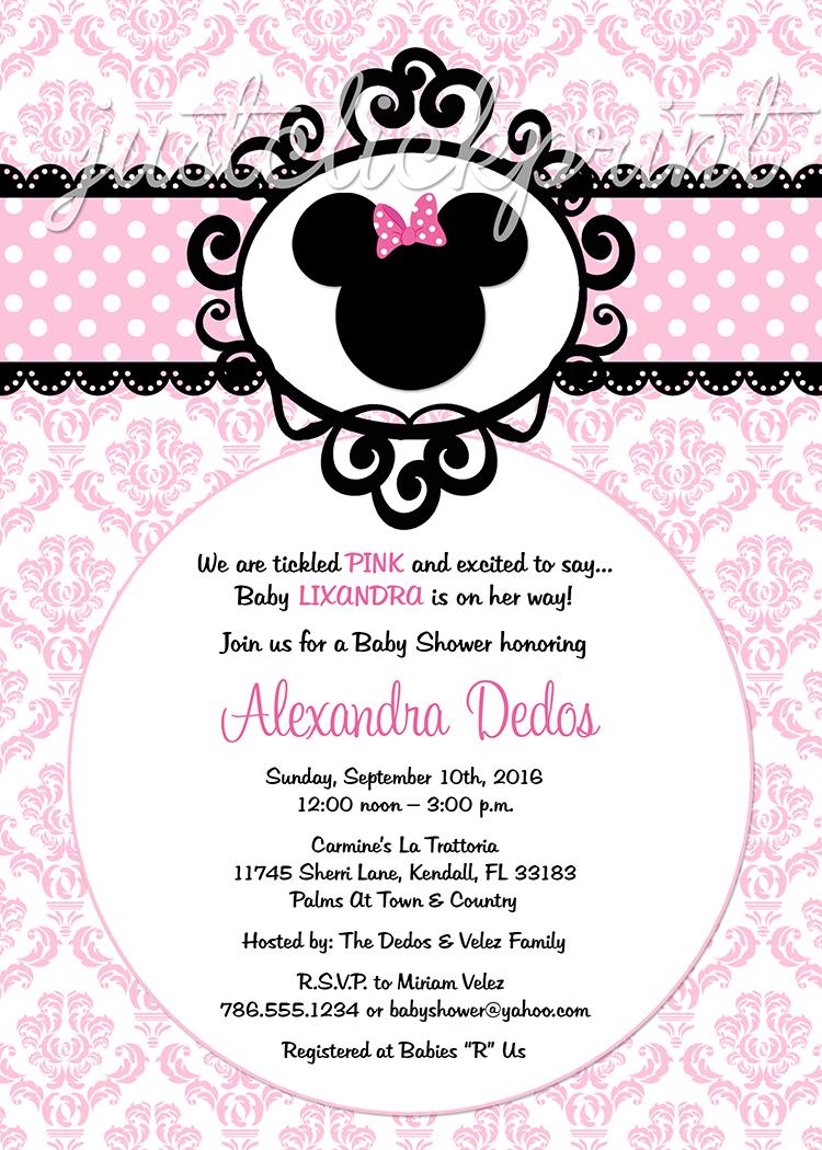 Minnie Mouse Pink Black Damask Baby Shower Birthday Invitation Printable