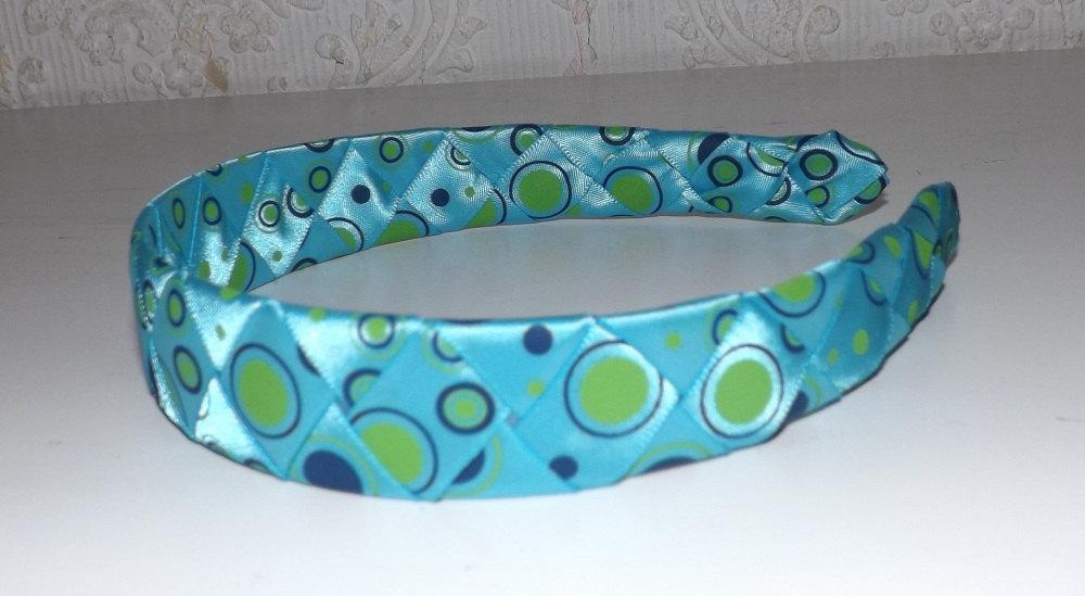 a32c1926ce046 ... Woven Ribbon Headband - Aqua Blue with Green and Navy Dots - Thumbnail 4