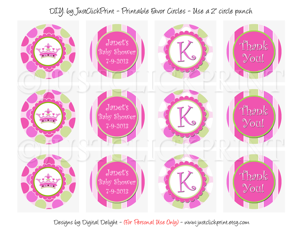 Little Princess Baby Girl Shower Favor Tags Cupcake Toppers Printable