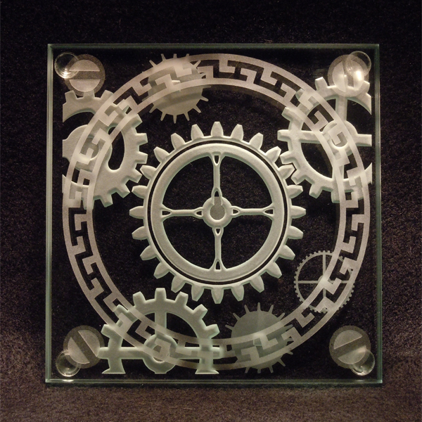 steampunk mechanical gear etched art glass coaster imagined
