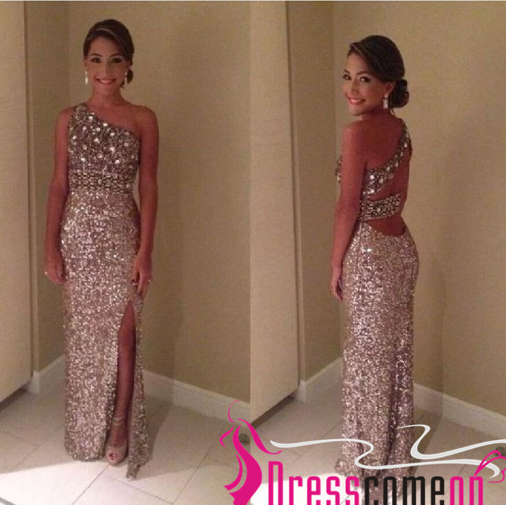 One Shoulder Sequin Prom Gown 2015 Top Pretty Glitter Long Slit Side ...