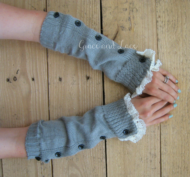 f01c7a128 Button Arm Warmers - womens Fingerless Gloves - wrist warmers - lace ...