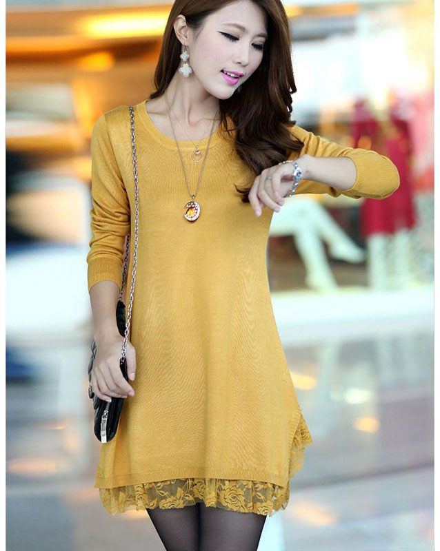 f26bee5c3cf Long Sleeve Lace Edge Women s Sweater Dress (Plus Size Available) -  Thumbnail ...