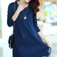 e2ace0b3750 ... Long Sleeve Lace Edge Women s Sweater Dress (Plus Size Available) -  Thumbnail ...