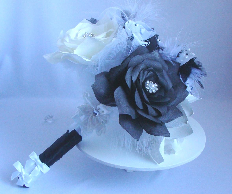 White Bridal Bouquet Black Wedding Bouquet Paper Flower Bouquet