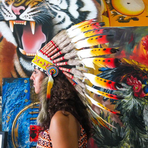 Real Feather Red Orange Yellow Chief Indian Headdress