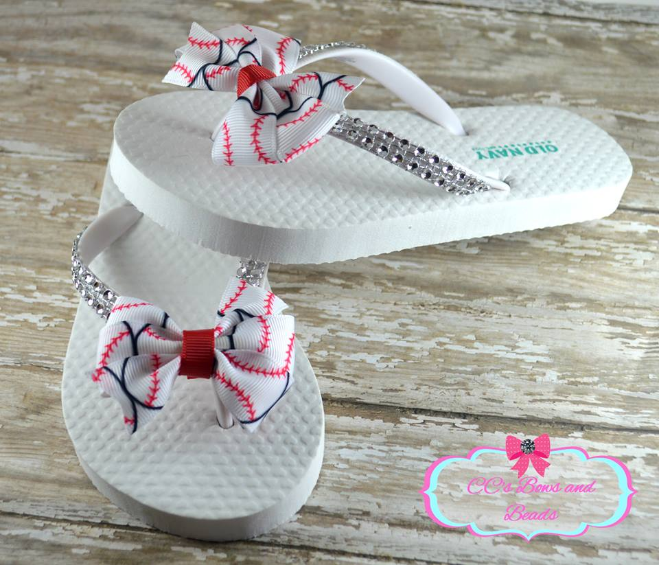 02fe8894f5576c Womens Baseball Bow Flip Flops White Old Navy MLB NCAA Softball ...