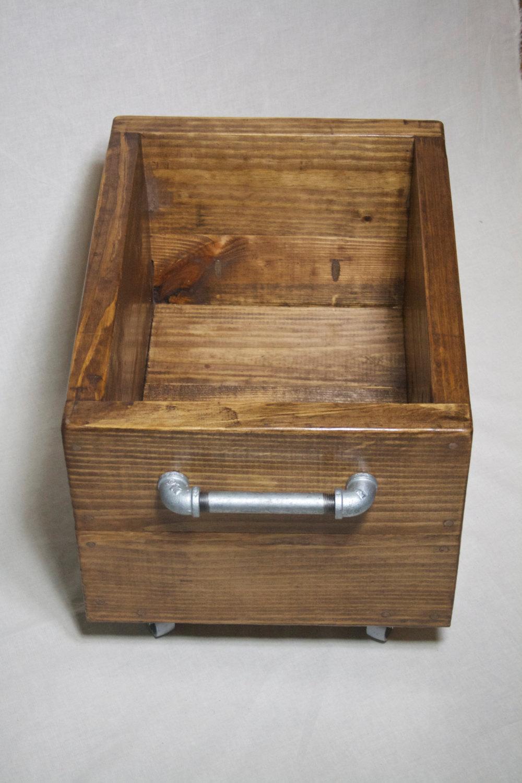 Il fullxfull.716303371 evim small & Industrial Storage Box on Wheels Wood Storage Bin on Casters ...