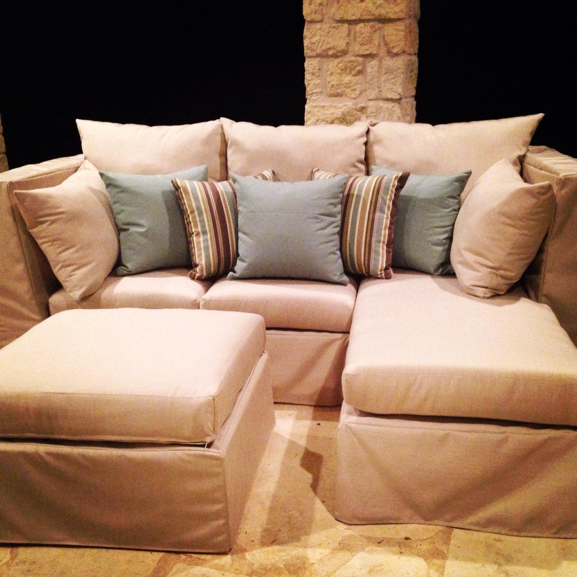 Outdoor Sectional Sofa Upholsterd Patio Furniture Set Solid Cedar