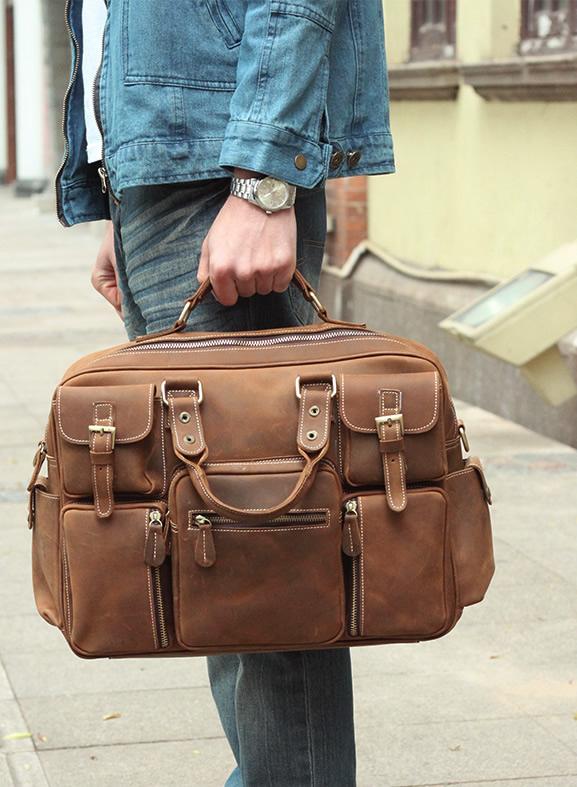 Large Handmade Vintage Leather Travel Bag   Leather Messenger Bag   Overnight  Bag   Duffle Bag 2bec687b711d5