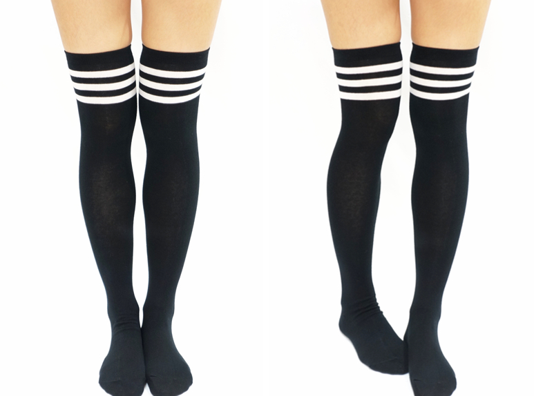 241621d7e JK White Stripe Cotton Thigh High Socks - Black · Sandysshop ...