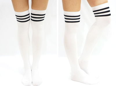 2c8488cd3 JK Black Stripe Cotton Thigh High Socks - White · Sandysshop ...