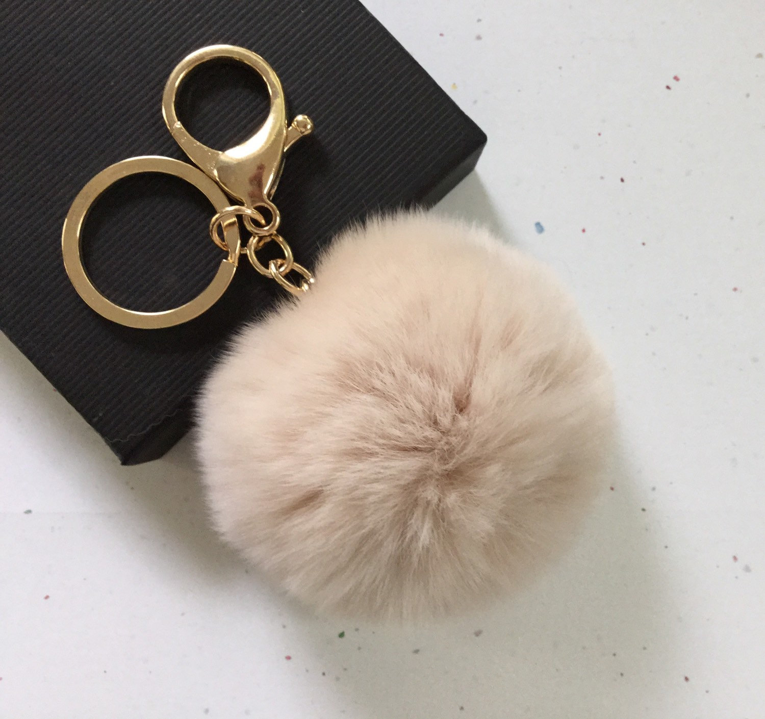 New! Cream Fur pom pom keychain fur ball bag pendant charm on Storenvy 6293bfb6c6d1e
