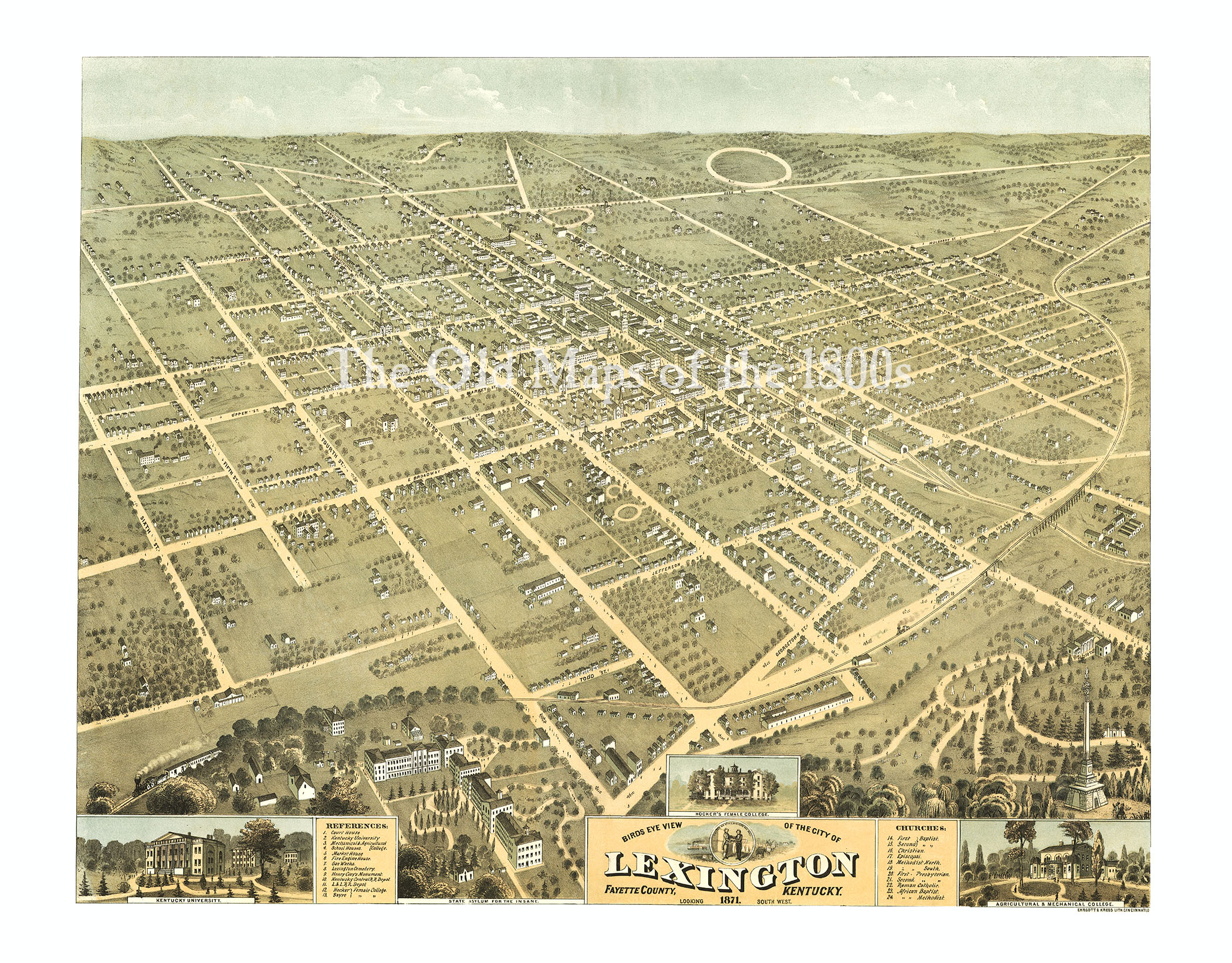Lexington, Kentucky in 1871 - Bird\'s Eye View Map, Aerial Map ...