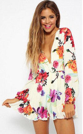 4c420fdb027 Floral Long Sleeve Playsuit Romper · Fashion Struck · Online Store ...