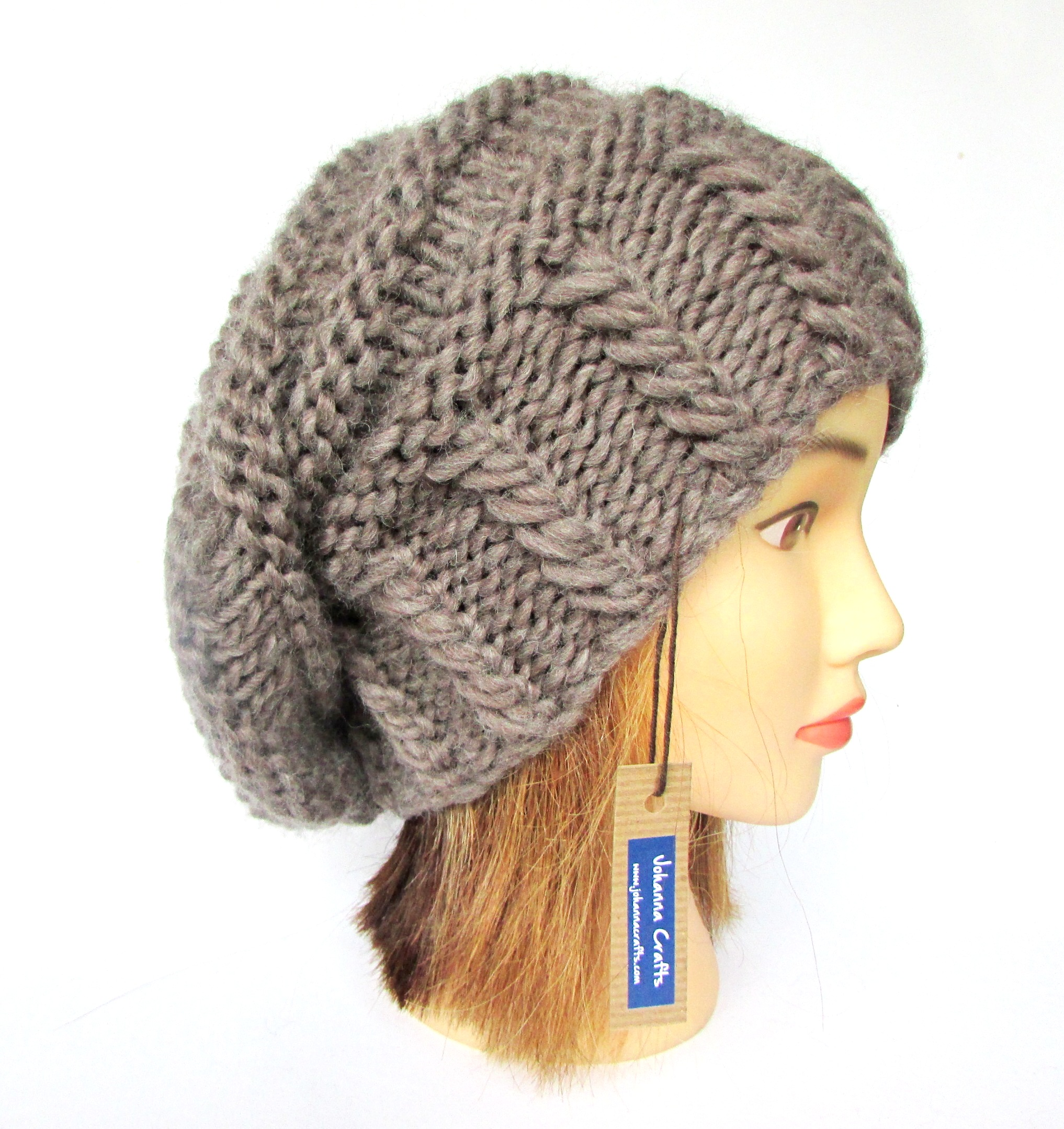 7e3eff2acecfe Slouchy beanie hat taupe slouch hat chunky knit slouchy hat Irish ...