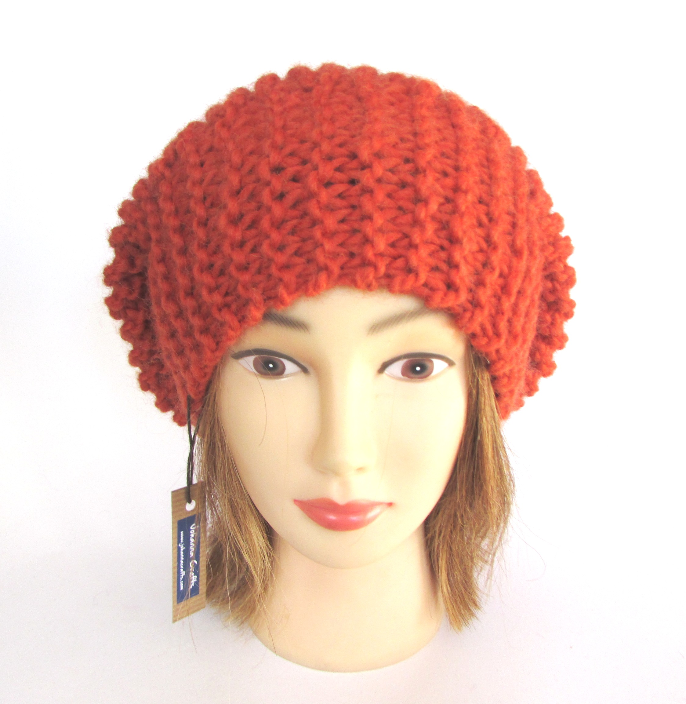 Burnt orange beret style hat - Irish chunky knit tam hat - ribbed ... 4ac654b0bfe