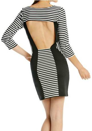 bdd579a537b S black white striped bodycon dress 3 4 long sleeve blocked mini ...