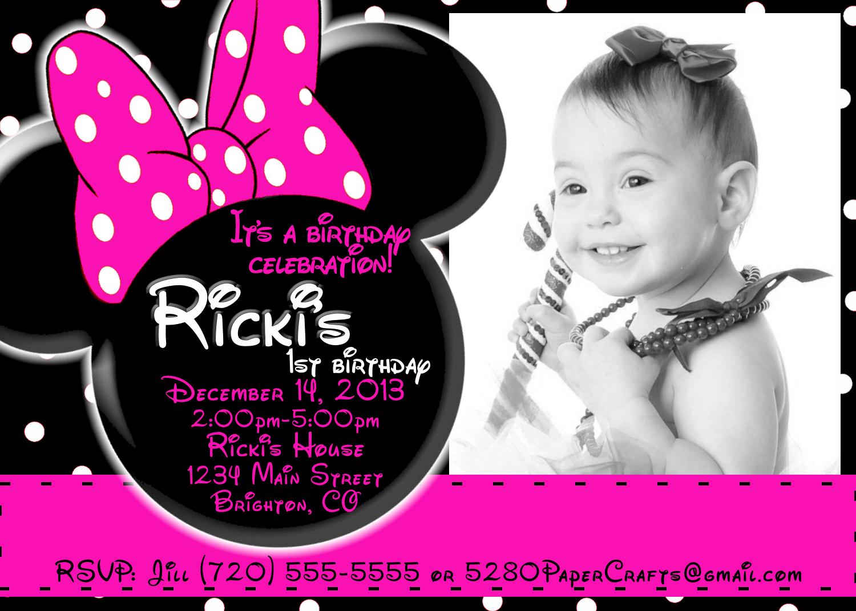 Disney Minnie Mouse Birthday Invite YOU Print On Storenvy