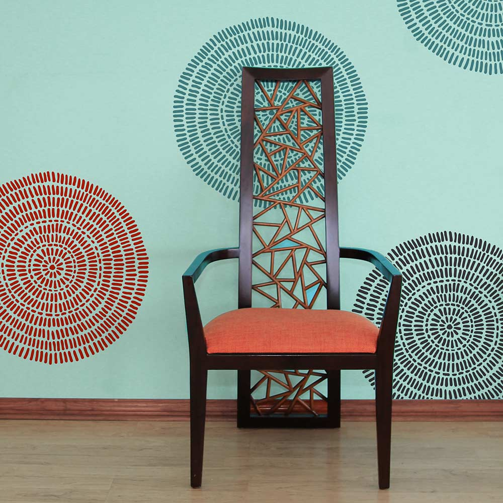 Maloca Wall Art Stencil   Easier Than Wallpaper   By Cutting Edge Stencils