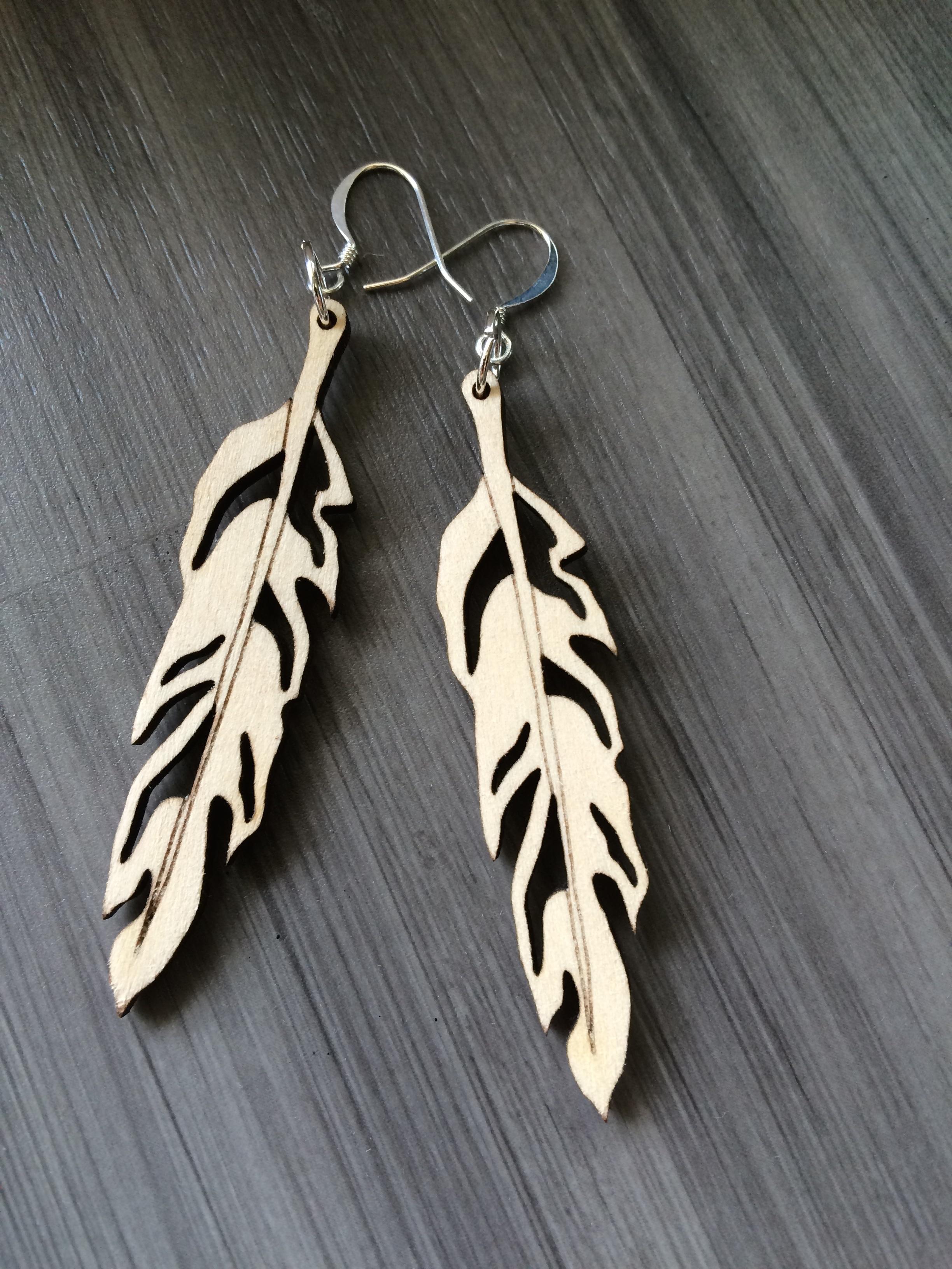 Wood Jewelry Fan Dangle Statement Earrings Laser Cut Birch Nickel Free