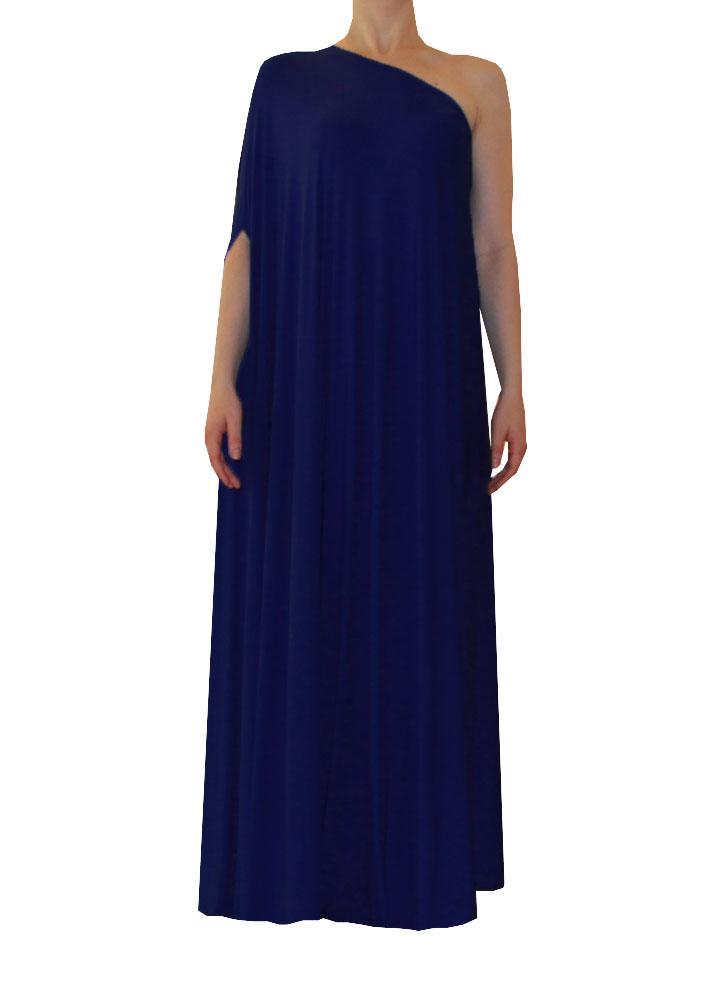 Plus Size Floor Length Dress One Shoulder Formal Gown In Navy Blue