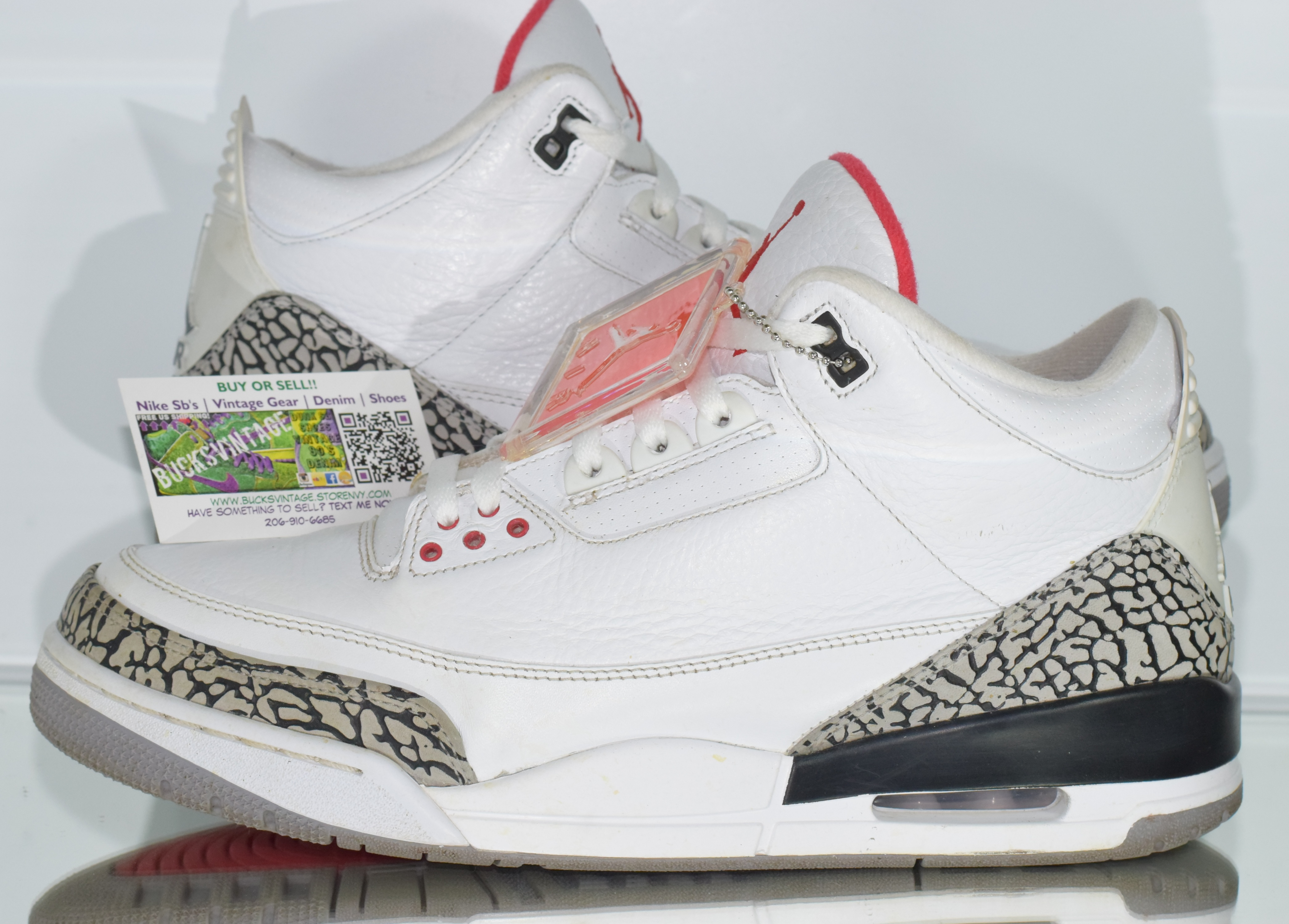 finest selection 61411 78361 Size 12   2011 Nike Air Jordan 3 White Cement Elephant Print