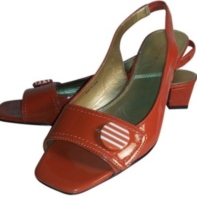 5000d5a86 Tahari patent leather orange slingbacks sandals women s shoes size 7.5