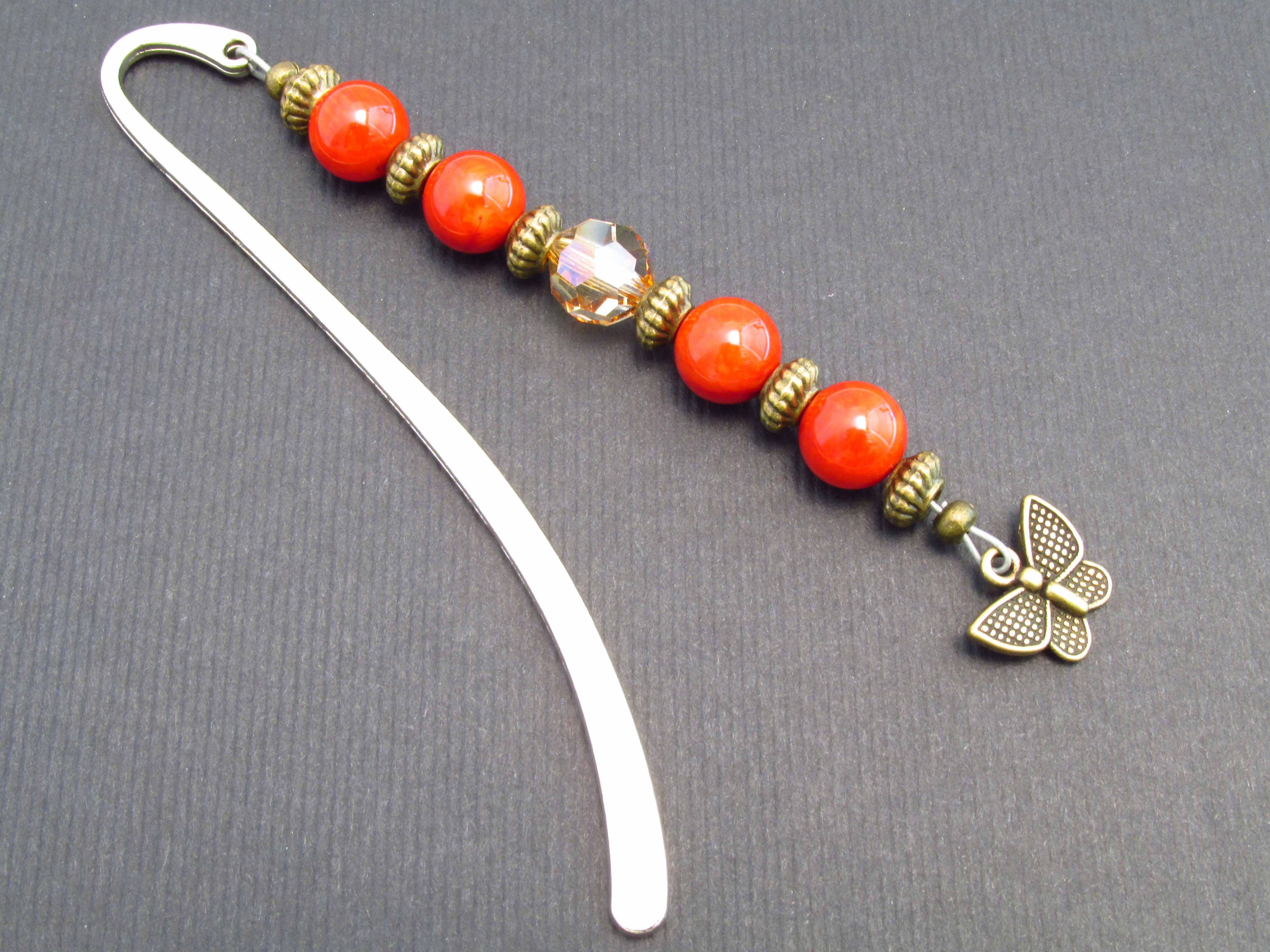 bamboo coral beaded bookmarker butterfly bookmark gift for avid
