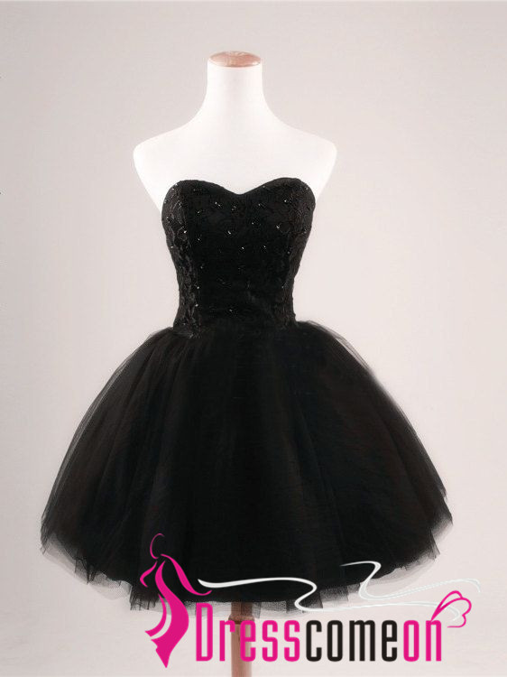 Black Short Prom Dress Simple Ball Gown Strapless Tulle Lace Party ...