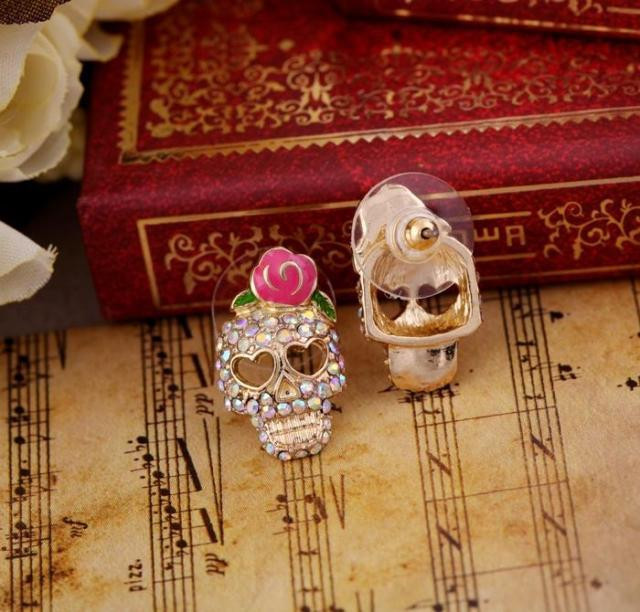 gold tone pink rose flower sugar skull crystal stud earrings skeleton head  bone stud backs rockabilly creepy cute from Tokimeki Lace