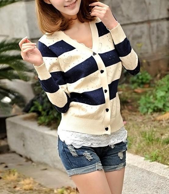 XS S M black white blue red striped heart knit stripe sweater button  cardigan long sleeve 9db563db4