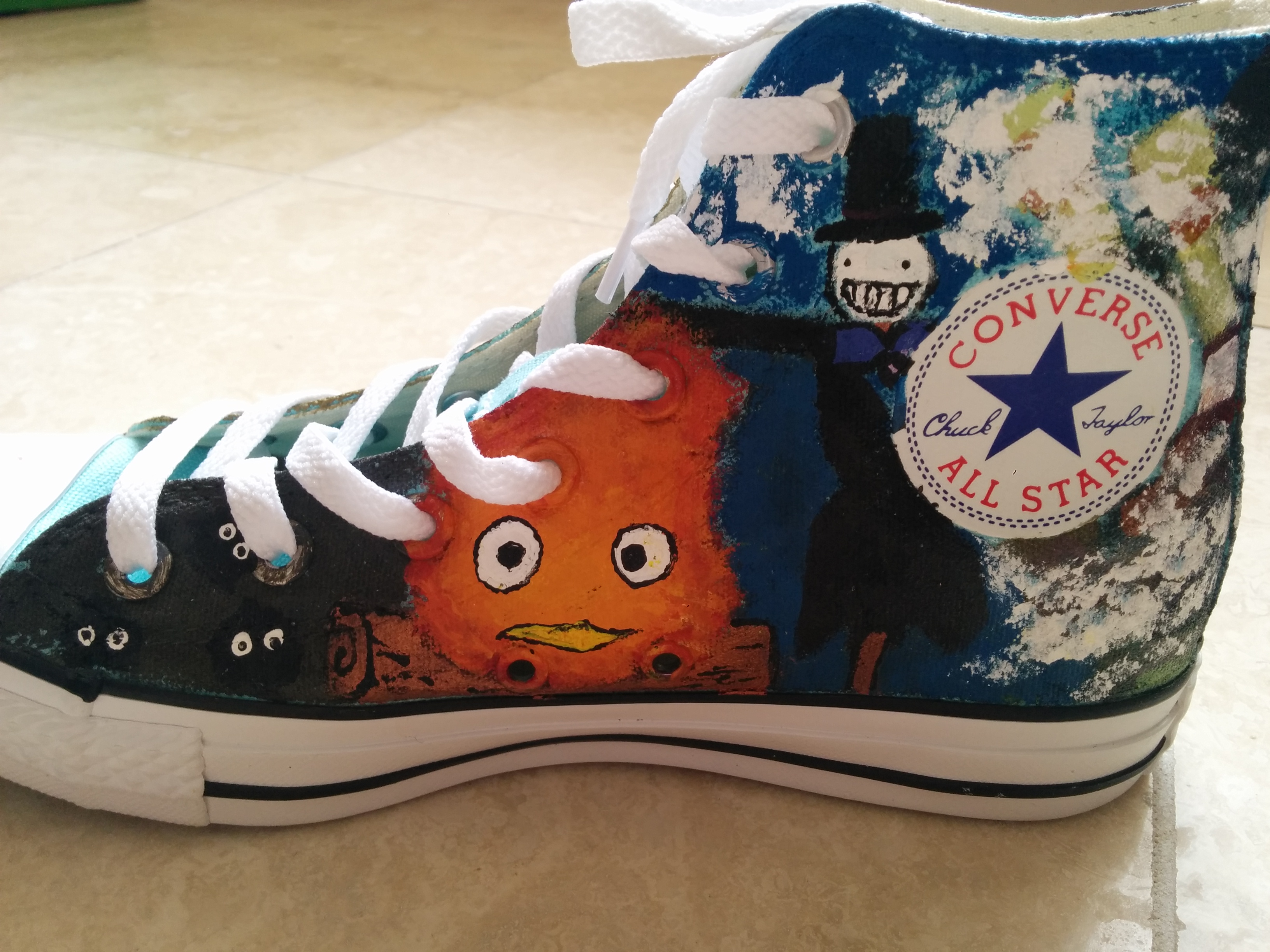 5dc2d3f36850c7 Custom Hand Painted Studio Ghibli Medley High Top Converse on Storenvy