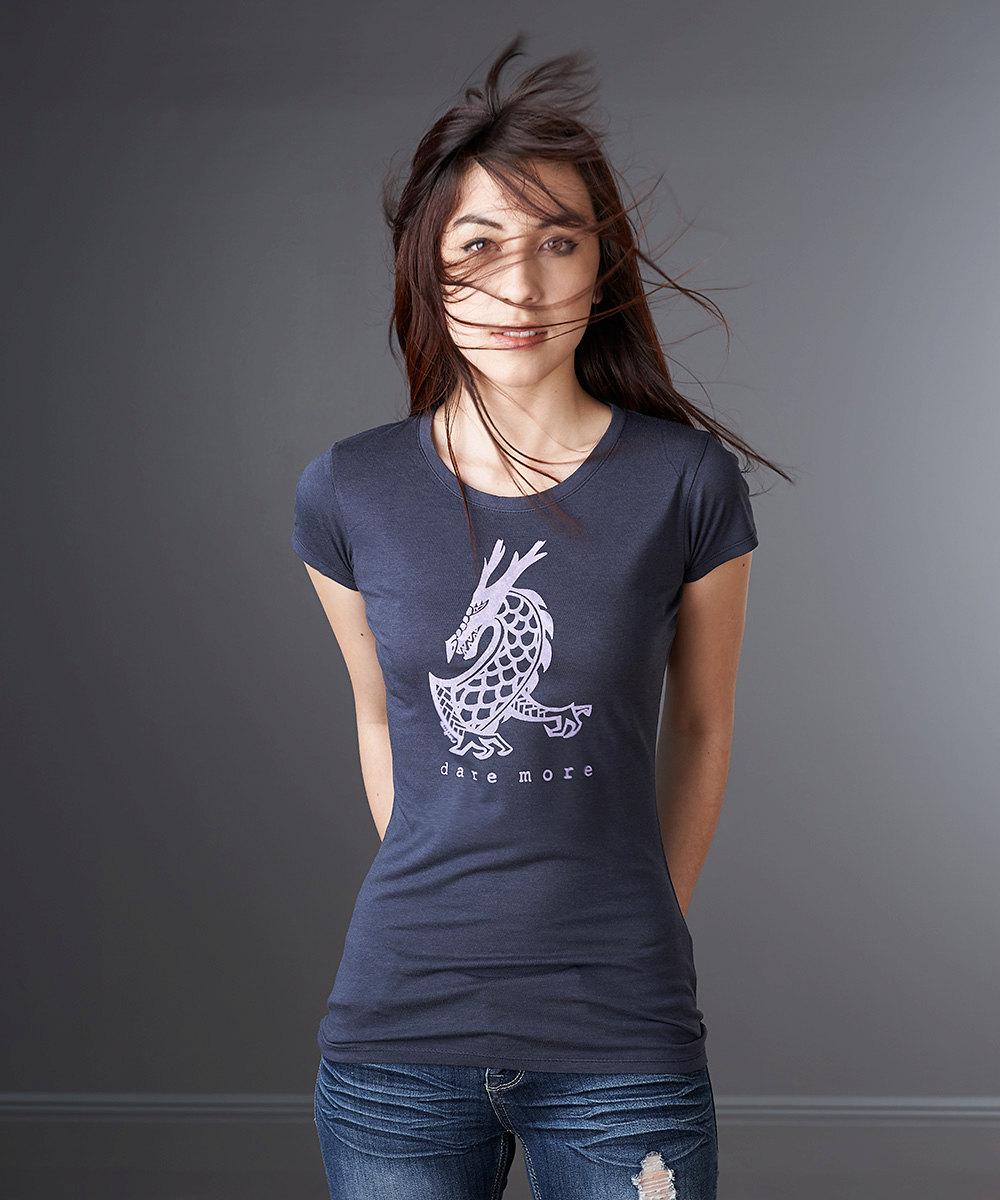 e3fff4a9e Womens T shirt, Dragon T shirt, Navy Blue, Bamboo Organic Cotton ...