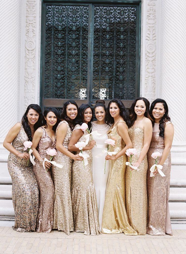 long bridesmaid dresses, mismatched bridesmaid dresses, Glittery ...