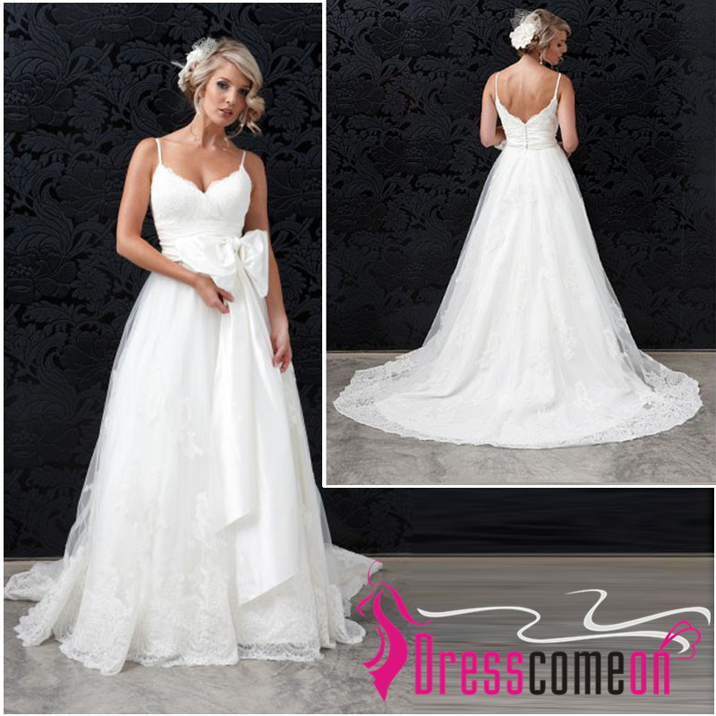 Spaghetti straps lace ball gown wedding dress silk waist sash,cheap ...