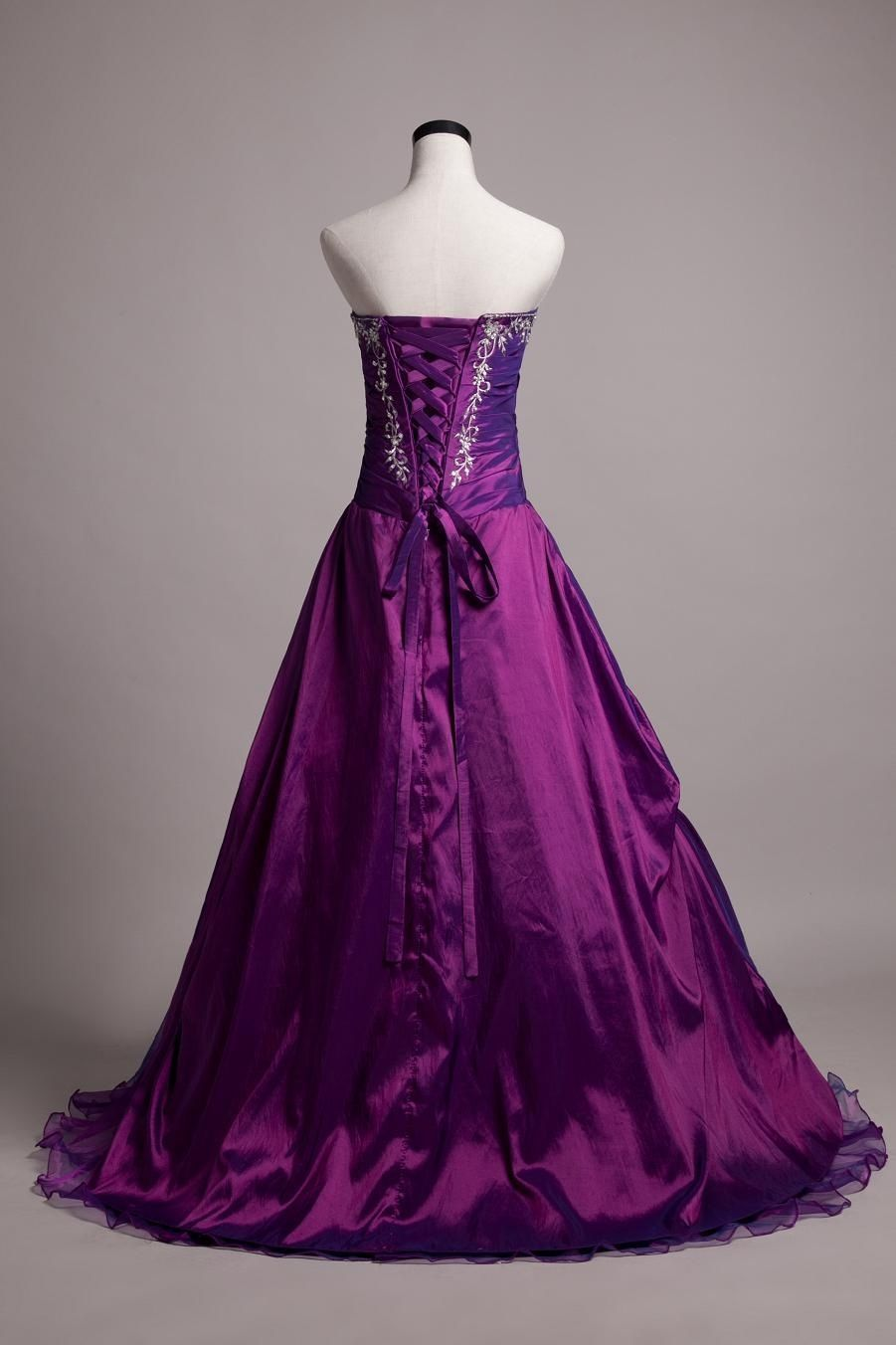 Purple Plus Size Strapless Corset Wedding Dress from Curvy Brides