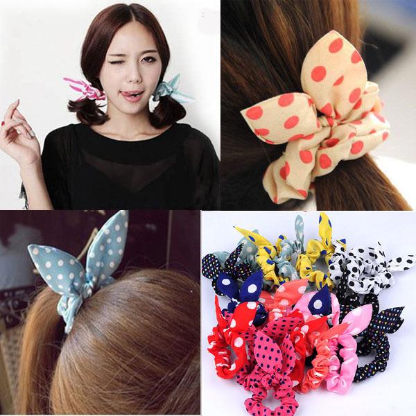 Wholesale lots mix color style 20pcs font b rabbit b font ear hair tie bands  accessories dffd37de1af