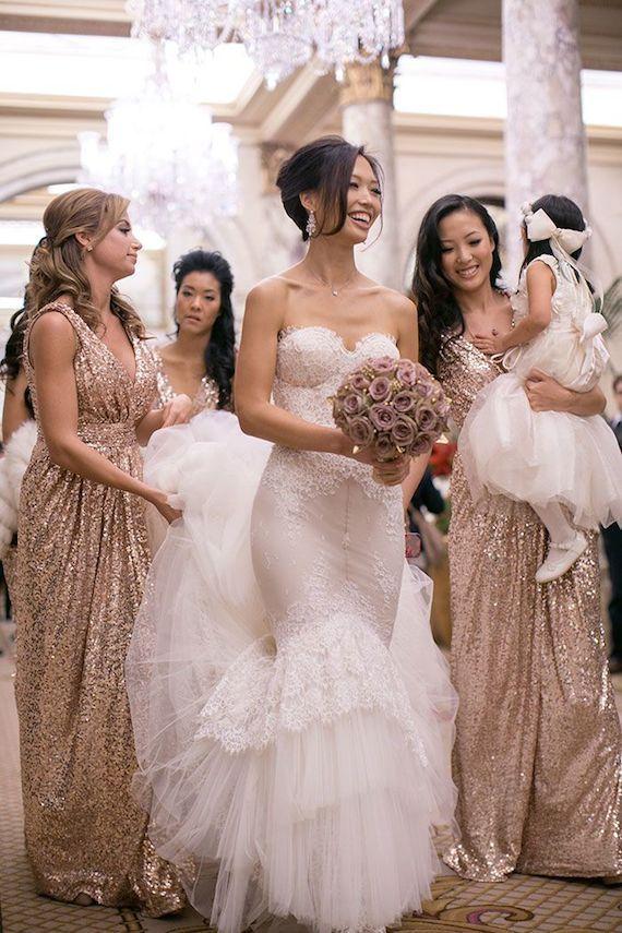 Champagne Gold Bridesmaid Dress Sparkle Bridesmaid Dress Long