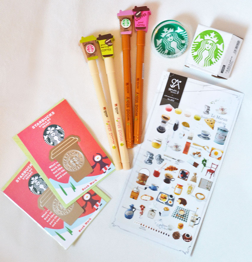 Cute Starbucks Coffee Cafe Stationery Set Stamp Sticker Gel Pen Bookmark Gift Sold By Q Teen Store