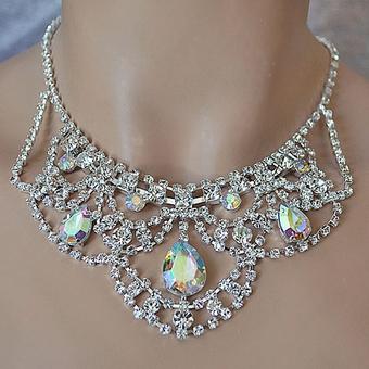 42e1c4326fff7 Sheer Elegance AB Reflective Or Clear Rhinestone Bridal Necklace Set from  Curvy Brides