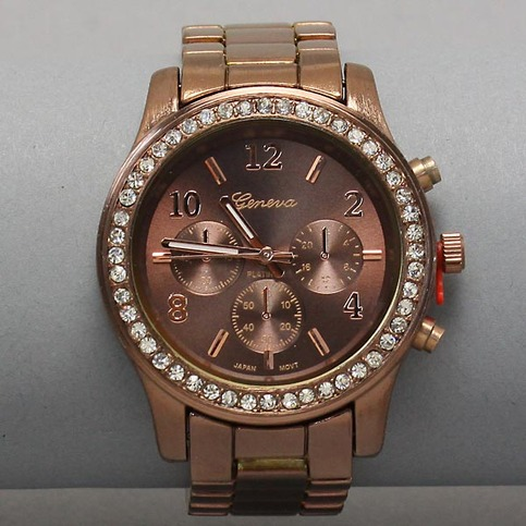 Geneva Platinum Luxury Chocolate Brown Clear Crystal
