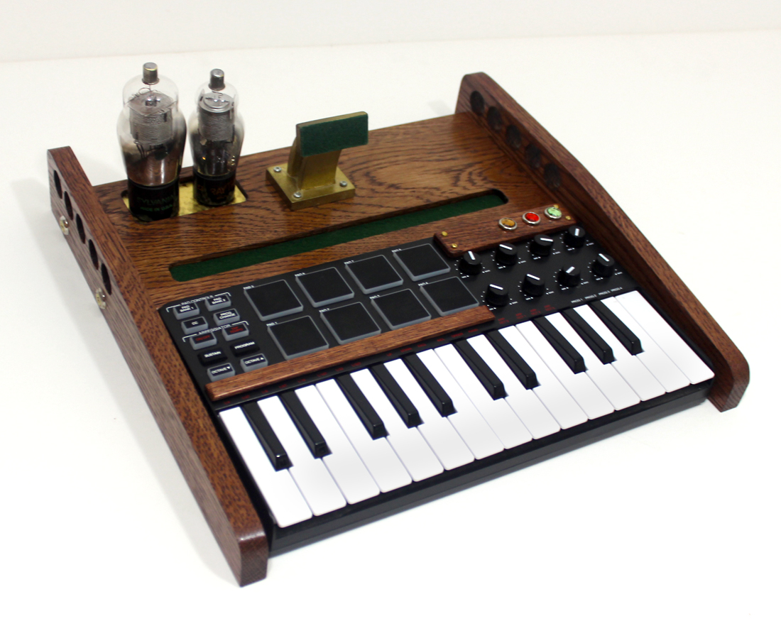 ipad tablet music workstation midi keyboard pads and knobs tube model steampunk oak. Black Bedroom Furniture Sets. Home Design Ideas