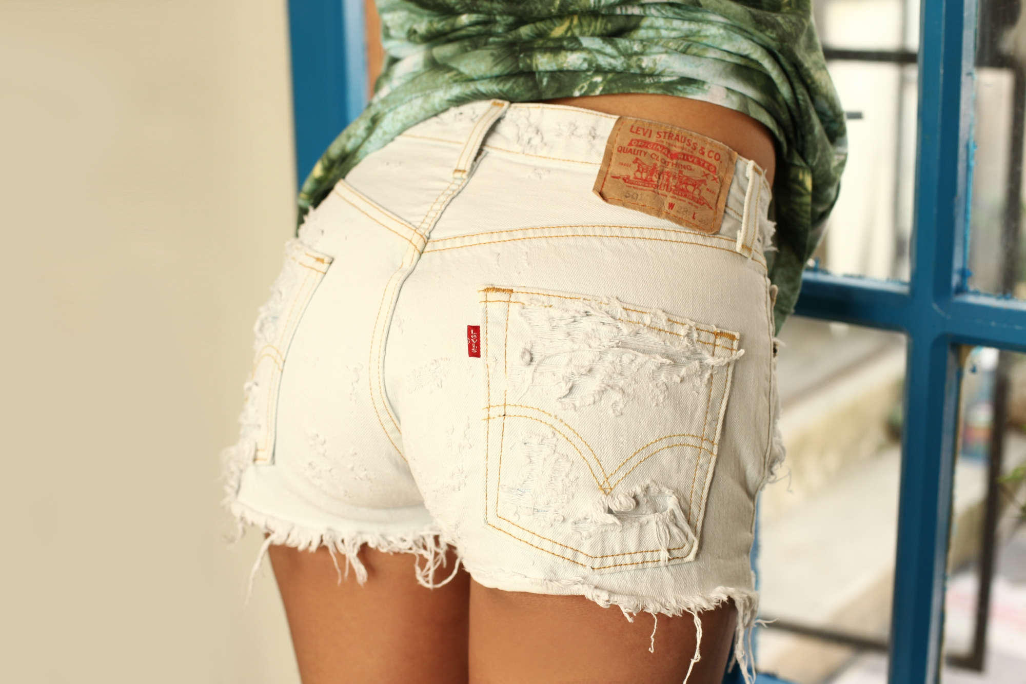 88b86100555 White Levi s High Waist Shorts on Storenvy